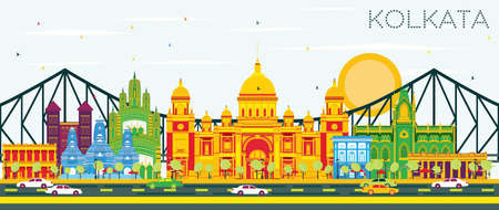 Kolkata Skyline with Color Landmarks and Blue Sky. Vector Illustration. Business Travel and Tourism Concept with Historic Buildings. Image for Presentation Banner Placard and Web Site. Illustration