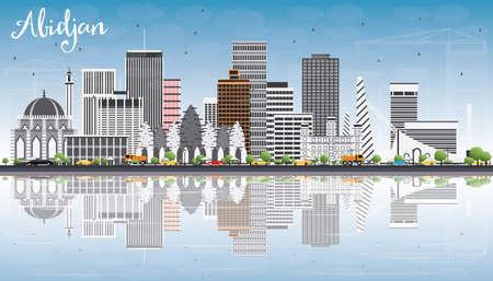 灰色の建物、青空の反射とアビジャン スカイライン。ベクトルの図。ビジネス旅行と観光コンセプト モダンな建築。プレゼンテーション バナー プ