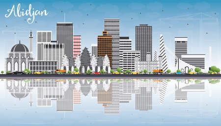 Abidjan Skyline with Gray Buildings, Blue Sky et Reflections. Illustration vectorielle. Business Travel and Tourism Concept avec architecture moderne. Image pour Presentation Banner Placard and Web Site. Banque d'images - 77680096