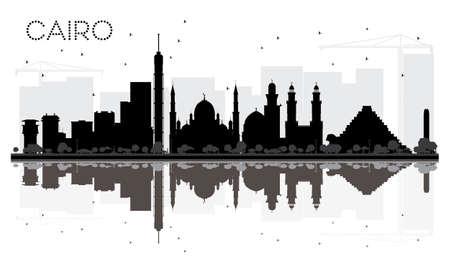 Silhouette noire et blanche de skyline du Caire avec des reflets. Illustration vectorielle Concept plat simple pour la présentation du tourisme, bannière, pancarte ou site web. Paysage urbain avec des points de repère.