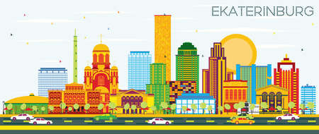 Ekaterinburg Skyline with Color Buildings and Blue Sky. Vector Illustration. Business Travel and Tourism Concept with Modern Buildings. Image for Presentation Banner Placard and Web Site. Illustration