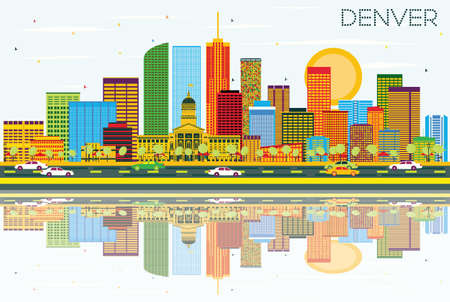 色の建物、青空の反射とデンバーのスカイライン。ベクトルの図。ビジネス旅行と観光概念と近代建築。プレゼンテーション バナー プラカードと We