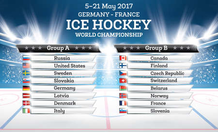 Ice Hokey World Championship 2017. List of Countries with Spotlights. Vector Illustration.