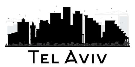 Tel Aviv City skyline black and white silhouette. Vector illustration. Simple flat concept for tourism presentation, banner, placard or web site. Cityscape with landmarks. Illusztráció
