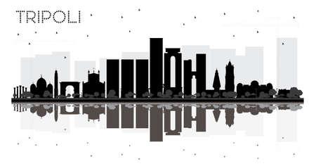Silhouette skyline bianco e nero di Tripoli City con riflessi. Illustrazione vettoriale Vettoriali