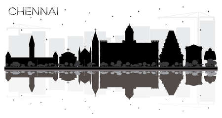 Chennai City skyline black and white silhouette with reflections. Vector illustration. Simple flat concept for tourism presentation, banner, placard or web site.
