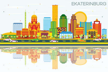 Ekaterinburg Skyline with Color Buildings, Blue Sky and Reflections. Vector Illustration. Business Travel and Tourism Concept with Modern Buildings. Image for Presentation Banner Placard and Web Site.