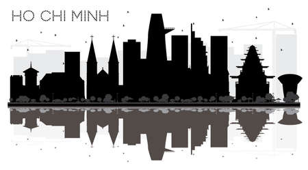 Ho Chi Minh City skyline black and white silhouette with reflections. Vector illustration. Simple flat concept for tourism presentation, banner, placard or web site.