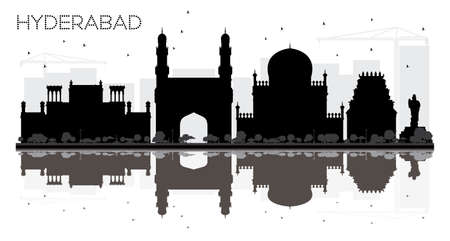 Hyderabad City skyline black and white silhouette with reflections. Vector illustration. Simple flat concept for tourism presentation, banner, placard or web site. Cityscape with landmarks.