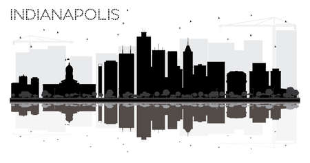 Indianapolis City skyline black and white silhouette with reflections. Vector illustration. Simple flat concept for tourism presentation, banner, placard or web site. Cityscape with landmarks.