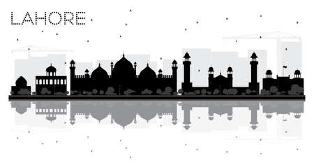 Lahore City skyline black and white silhouette with reflections. Vector illustration.