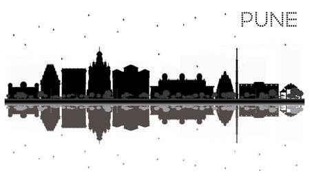 Pune skyline black and white silhouette with reflections. Vector illustration. Simple flat concept for tourism presentation, banner, placard or web site. Cityscape with famous landmarks.