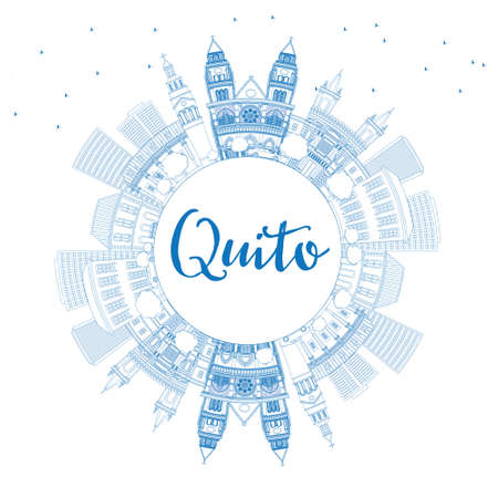 Outline Quito Skyline with Blue Buildings and Copy Space. Vector Illustration. Business Travel and Tourism Concept with Historic Architecture. Image for Presentation Banner Placard and Web Site.