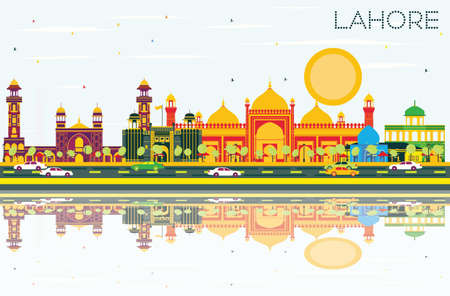 Lahore Skyline with Color Landmarks, Blue Sky and Reflections. Vector Illustration. Business Travel and Tourism Concept with Historic Buildings. Image for Presentation Banner Placard and Web.