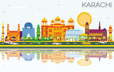 Karachi Skyline with Color Landmarks, Blue Sky and Reflections. Vector Illustration. Business Travel and Tourism Concept with Historic Buildings. Image for Presentation Banner Placard and Web Site. Ilustracja