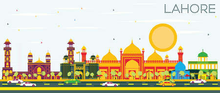 Lahore Skyline with Color Landmarks and Blue Sky. Vector Illustration. Business Travel and Tourism Concept with Historic Buildings. Image for Presentation Banner Placard and Web. Illustration