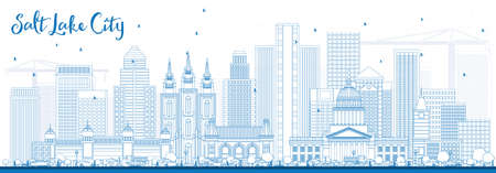Outline Salt Lake City Skyline with Blue Buildings. Vector Illustration. Business Travel and Tourism Concept with Historic Architecture. Image for Presentation Banner Placard and Web Site. Illustration