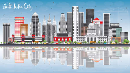 Salt Lake City Skyline with Gray Buildings, Blue Sky and Reflections. Vector Illustration. Business Travel and Tourism Concept with Historic Architecture. Image for Presentation Banner Placard and Web Site. Illustration