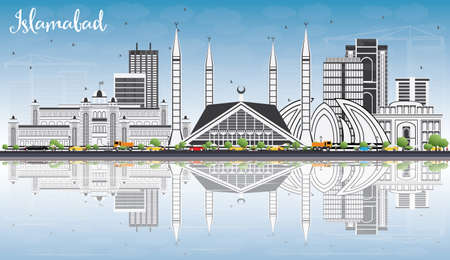 Islamabad Skyline with Gray Buildings, Blue Sky and Reflections. Vector Illustration. Business Travel and Tourism Concept with Historic Architecture. Image for Presentation Banner Placard and Web Site.