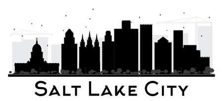 ソルト レイク シティ シティ スカイライン黒と白のシルエット。ベクトルの図。観光プレゼンテーション、バナー、プラカードまたは web サイトの