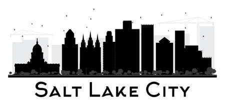 Salt Lake City City skyline black and white silhouette. Vector illustration. Simple flat concept for tourism presentation, banner, placard or web site. Cityscape with landmarks.