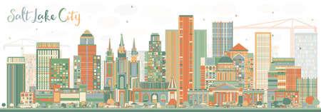 抽象的なソルト レイク シティ スカイライン色の建物。ベクトルの図。ビジネス旅行や歴史的建造物を観光概念です。プレゼンテーション バナー プ  イラスト・ベクター素材