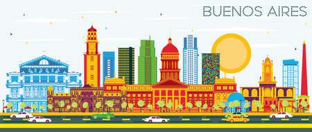 De Horizon van Buenos aires met Kleurenoriëntatiepunten en Blauwe Hemel. Vector illustratie. Stock Illustratie