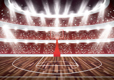 Basketball Court with Hoop and Spotlights. Vector Illustration.