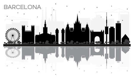Barcelona City skyline black and white silhouette with reflections. Vector illustration.