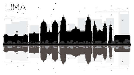 Lima City skyline black and white silhouette with reflections. Vector illustration. Vector Illustration