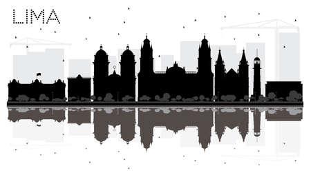 Silueta de horizonte de la ciudad de Lima blanco y negro con reflejos. Ilustración vectorial Foto de archivo - 78020013