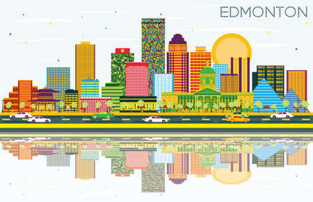 Edmonton Skyline with Color Buildings, Blue Sky and Reflections. Vector Illustration. Business Travel and Tourism Concept with Modern Buildings. Image for Presentation Banner Placard and Web Site.