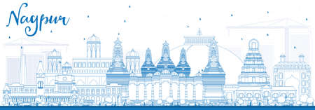 nagpur: Outline Nagpur Skyline with Blue Buildings. Vector Illustration. Business Travel and Tourism Concept with Historic Architecture. Image for Presentation Banner Placard and Web Site.