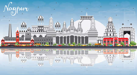 nagpur: Nagpur Skyline with Gray Buildings, Blue Sky and Reflections. Vector Illustration. Business Travel and Tourism Concept with Historic Architecture. Image for Presentation Banner Placard and Web Site.