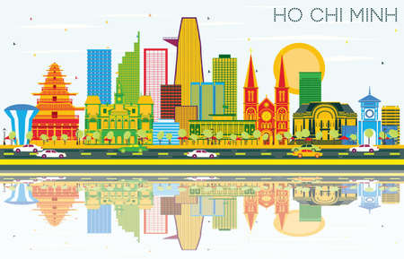 Ho Chi Minh Skyline with Color Buildings, Blue Sky and Reflections. Vector Illustration. Business Travel and Tourism Concept. Image for Presentation Banner Placard and Web Site.