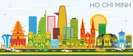 Ho Chi Minh Skyline with Color Buildings and Blue Sky. Vector Illustration. Business Travel and Tourism Concept. Image for Presentation Banner Placard and Web Site.