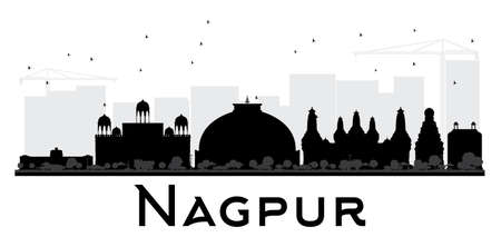 nagpur: Nagpur City skyline black and white silhouette. Simple flat concept for tourism presentation, banner, placard or web site. Cityscape with landmarks. Illustration