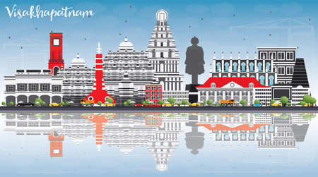 Visakhapatnam Skyline with Gray Buildings, Blue Sky and Reflections. Vector Illustration. Business Travel and Tourism Concept with Historic Architecture. Image for Presentation Banner.