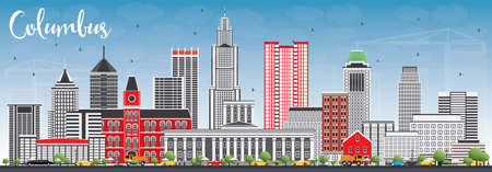 Columbus Skyline with Gray Buildings and Blue Sky. Vector Illustration. Business Travel and Tourism Concept with Modern Architecture. Image for Presentation Banner Placard and Web Site. Illustration