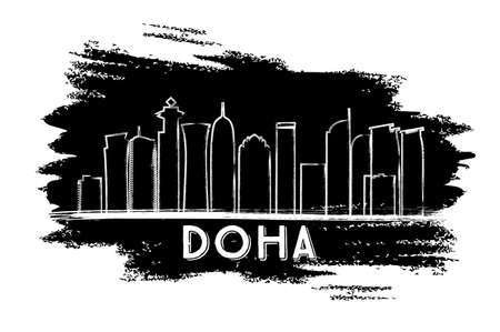 Doha Skyline Silhouette. Hand Drawn Sketch. Vector Illustration. Business Travel and Tourism Concept with Modern Architecture. Image for Presentation Banner Placard and Web Site. Illustration