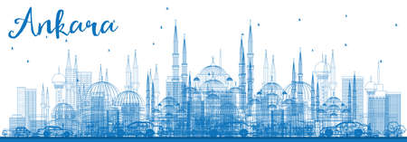 Outline Ankara Skyline with Blue Buildings. Vector Illustration. Business Travel and Tourism Concept with Historic Buildings. Image for Presentation Banner Placard and Web Site.