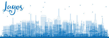 Outline Lagos Skyline with Blue Buildings. Vector Illustration. Business Travel and Tourism Concept with Modern Buildings. Image for Presentation Banner Placard and Web Site.