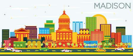 色の建物と青空マディソン スカイライン。ベクトルの図。ビジネス旅行と観光概念と近代建築。プレゼンテーション バナー プラカードと Web サイト