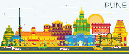 Pune Skyline with Color Buildings and Blue Sky. Vector Illustration. Business Travel and Tourism Concept with Historic Buildings. Image for Presentation Banner Placard and Web Site.