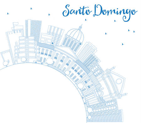 Outline Santo Domingo Skyline with Blue Buildings and Copy Space. Vector Illustration. Business Travel and Tourism Concept with Modern Architecture. Image for Presentation Banner Placard and Web Site. Ilustração