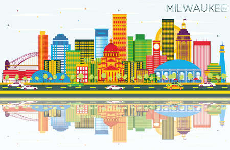 Milwaukee Skyline with Color Buildings, Blue Sky and Reflections. Vector Illustration. Business Travel and Tourism Concept with Modern Buildings. Image for Presentation Banner Placard and Web Site.