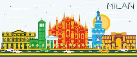 밀라노 스카이 라인 색상 랜드 마크와 푸른 하늘. 벡터 일러스트 레이 션. 비즈니스 여행 및 역사적인 건물 관광 개념입니다.
