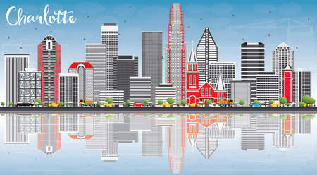 Charlotte Skyline with Gray Buildings, Blue Sky and Reflections. Vector Illustration.
