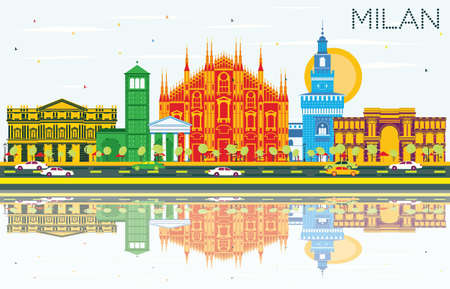 Milan Skyline with Gray Landmarks, Blue Sky and Reflections. Vector Illustration.