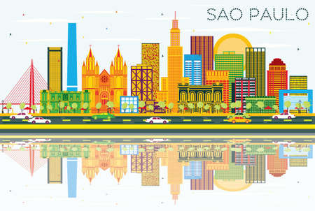 Sao Paulo Skyline with Gray Buildings, Blue Sky and Reflections. Vector Illustration. Business Travel and Tourism Concept with Modern Buildings. Image for Presentation Banner Placard and Web Site. Illustration